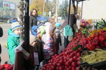 Kropeczki robiły zakupy owocowo warzywne i piekły ciasto śliwkowe.